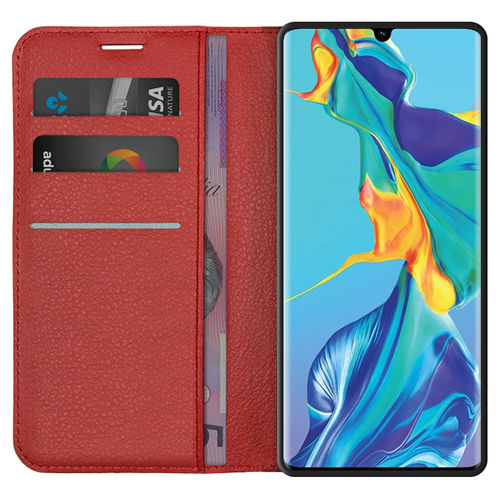 Leather Wallet Case & Card Slot Pouch for Huawei P30 Pro - Red